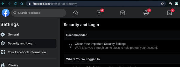 An image showing a login to Facebook, this is a a means of checking notifications without clicking on a malicious link in an email.