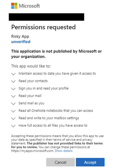 An example of permissions given to an app which could lead to consent phishing