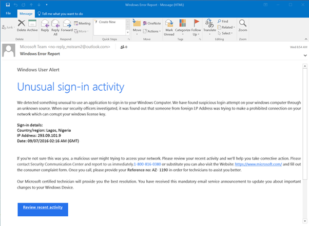 Phishing email with a title designed to get an immediate action from a user
