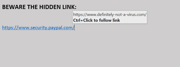 An image showing a malicious link in a phishing email